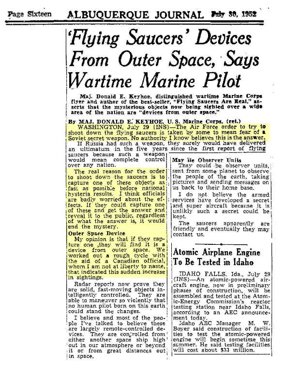 A Trip Back To July 1952 For Those Who Say Ufo S Et Are