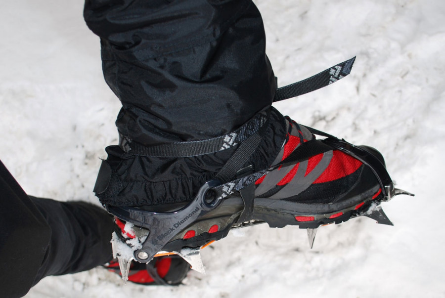 Winter Trekking Gear Crampons And Microclamps And Ice