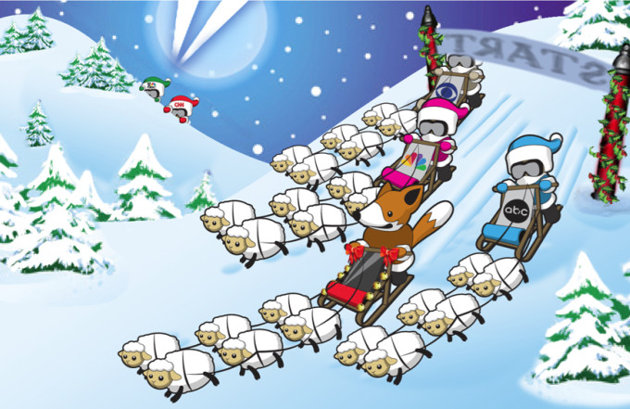fox sheep sledding