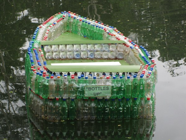 boat made out of plastic bottles