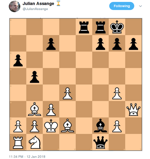 Julian Assange Cryptic Chessboard Message: Checkmate?, page 1