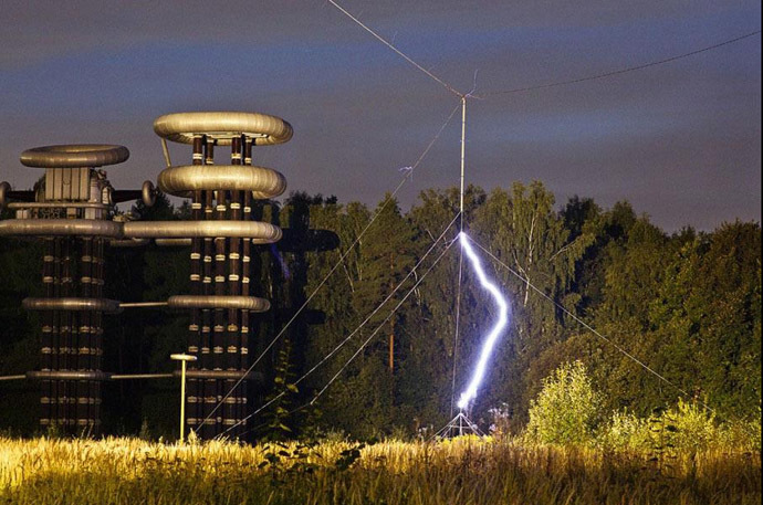 Giant Futuristic Tesla Tower In Abandoned Woods Near
