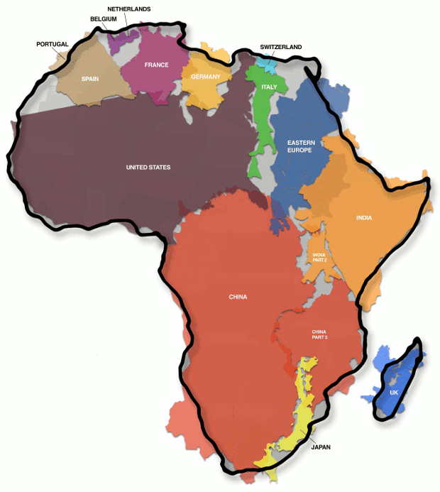 The True Size Of Africa An Erroneous Map Misled Us For Years - World map to scale