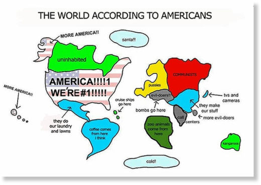 The World According To Americans Stereotypical American Map