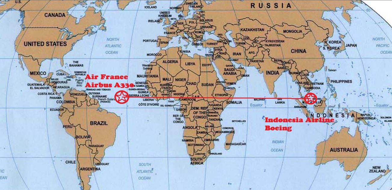 Air France Flight Malaysian Airlines Flight MH Ominous - Latitude and longitude of france