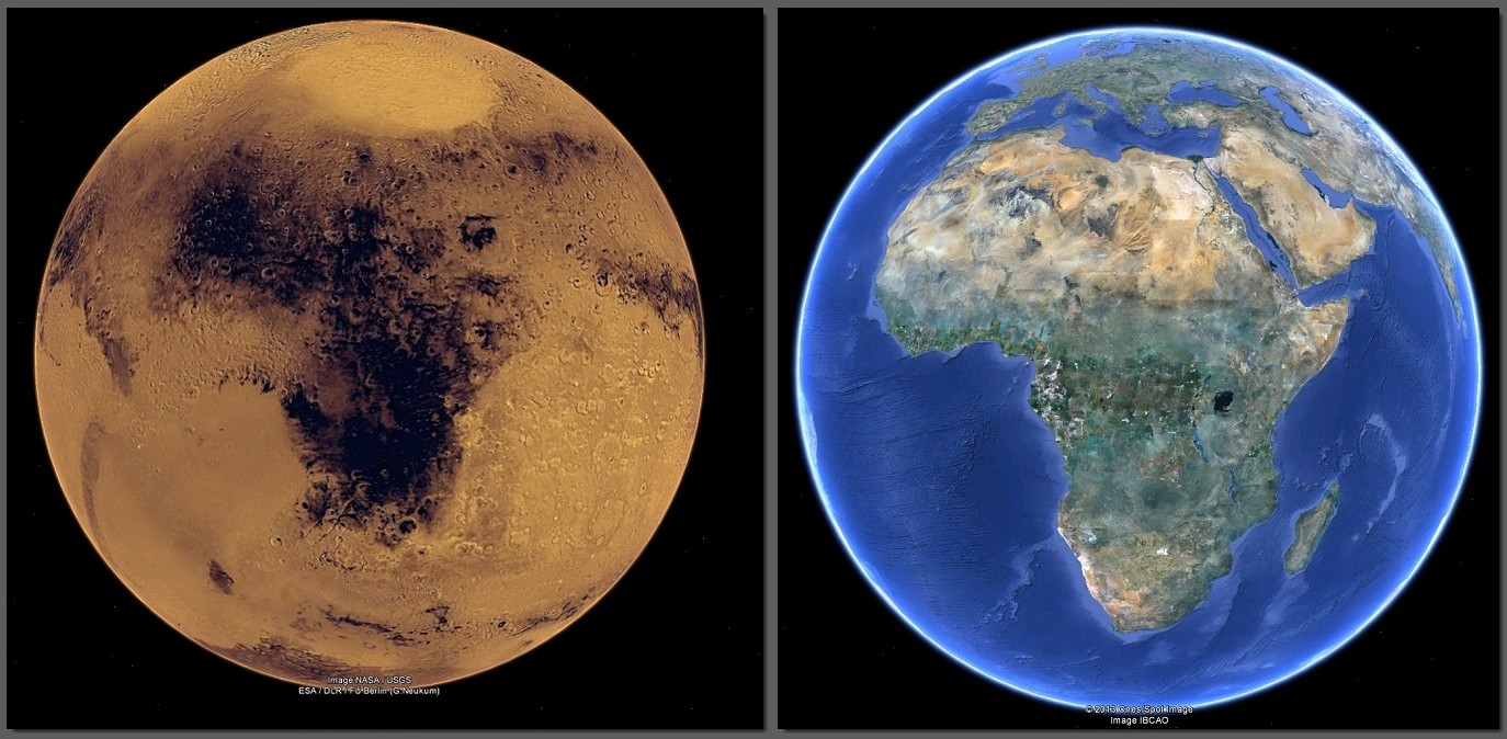 what are the differences between earth and mars