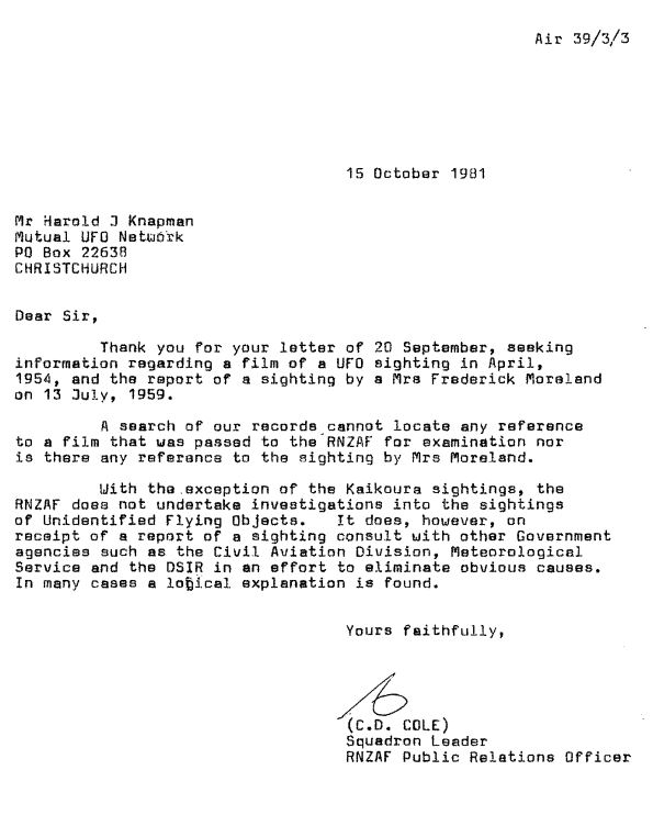 New zealand x files official fib superiors mystified in a further letter on 8 february 1982 squadron leader cole wrote that a thorough search was made of our records but no reference to an rnzaf spiritdancerdesigns Choice Image