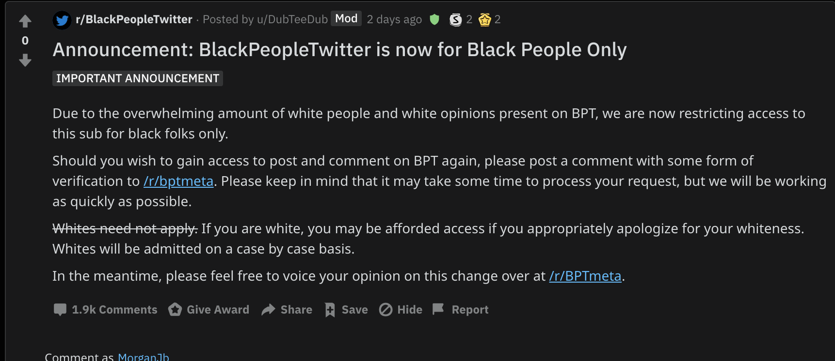 Its a pretty standard opinion that if the sub reddit white people twitter which does exist did the same thing there would be a major social rally