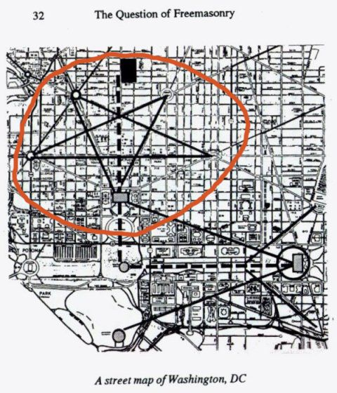 also found within the u s senate chamber in the architectural layout of dc with the capital building at the point the pentagon is type of pentagram