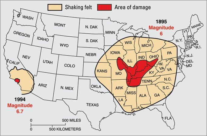 first of all let s take a look at the damage area and area of where a magnitude 6 earthquake was felt in 1895