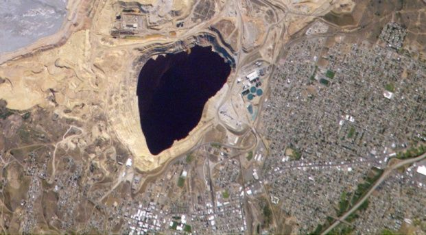 Toxic Waste fills this black lake that is in Butte Montana
