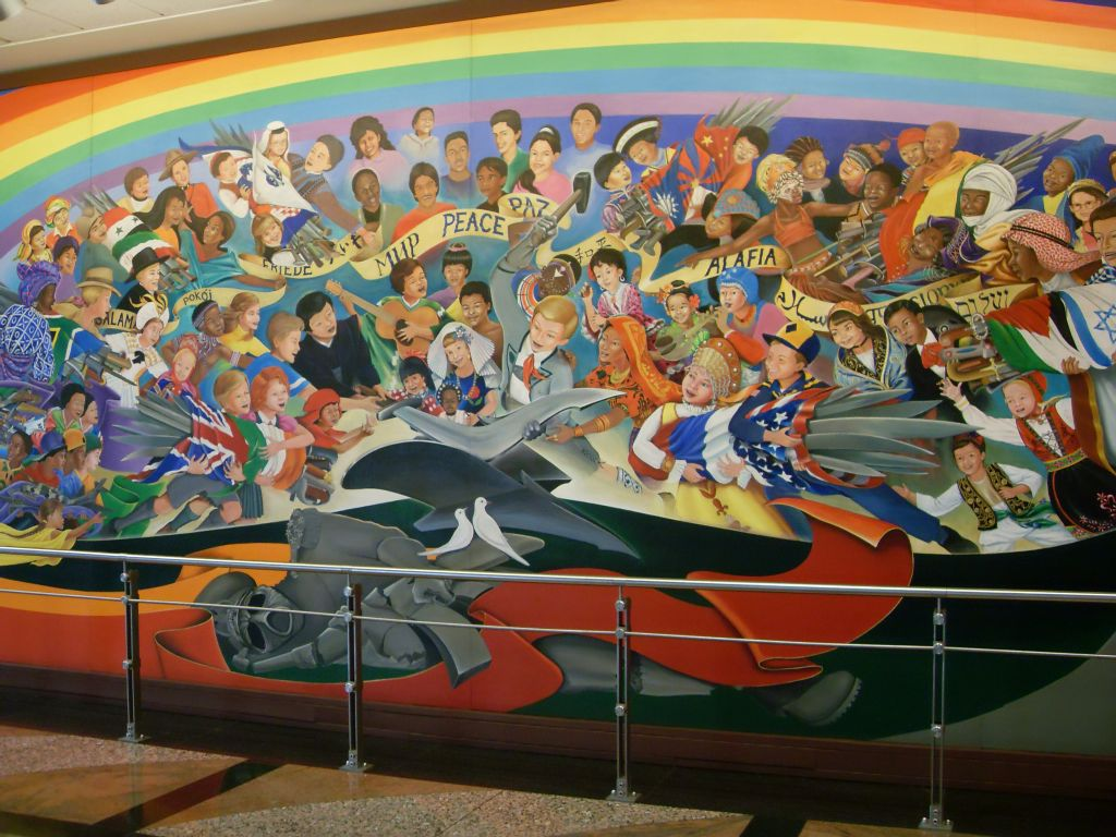 denver airport murals connection with flu hoax genocide
