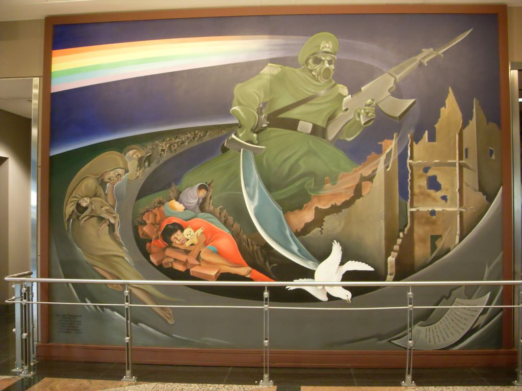 Denver airport murals connection with flu hoax genocide for Denver airport mural